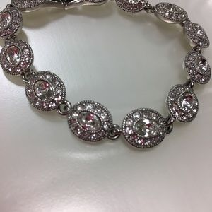 Silver and diamond accented bracelet